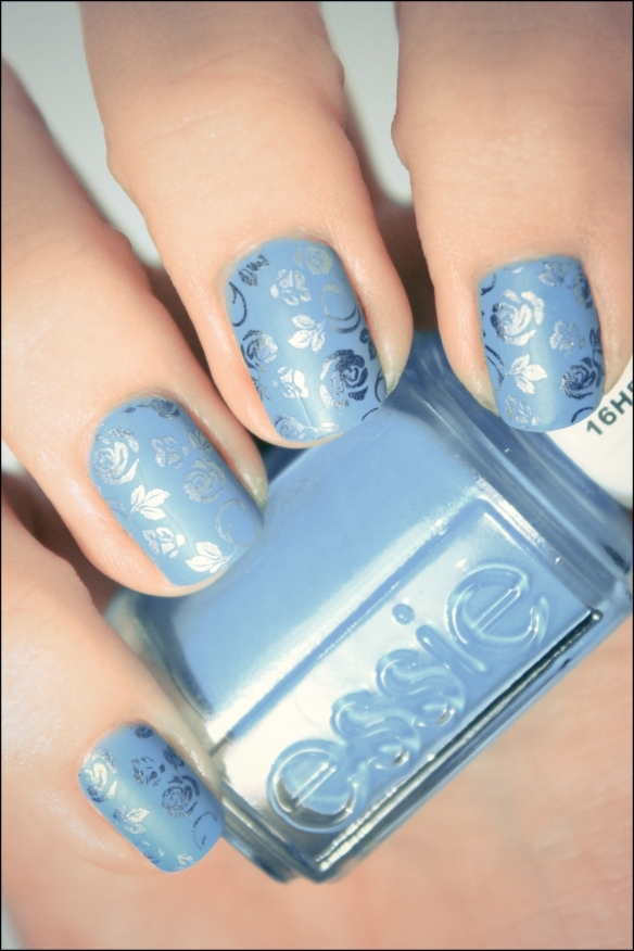 blue, essie, flowers, konad, mat, nail art, nailpolish, nails, pshiiit
