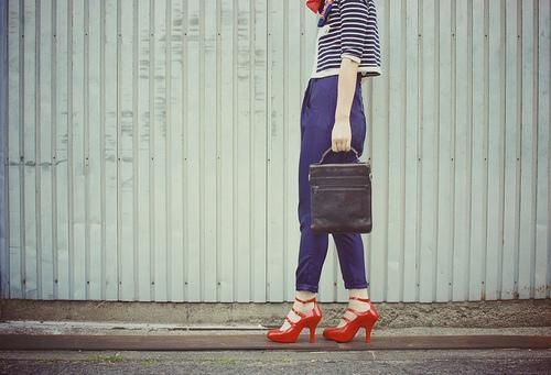 blue, fashion, girl, leather, melissa, navy, red