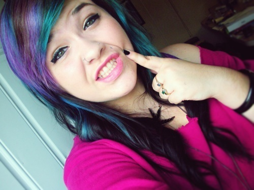 blue hair, cut, girl, green hair, hair