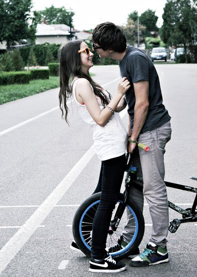 bmx, boy, couple, cute, glasses