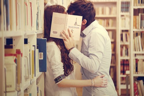 book, books, boy and girl, kiss, love