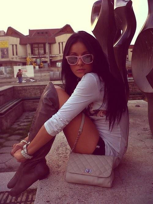 boots, brunette, fashion, girl, long hair
