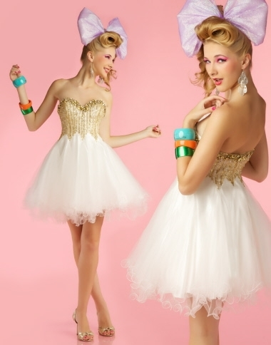 bow, cute, dress, gold, pretty, short dress, white