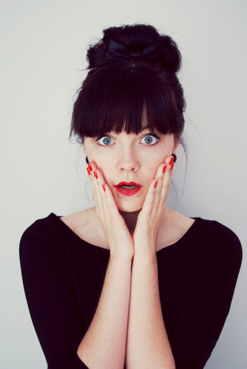 bow, eyes, face, girl, lips, nails, photography, portrait, red, surprise, surprised