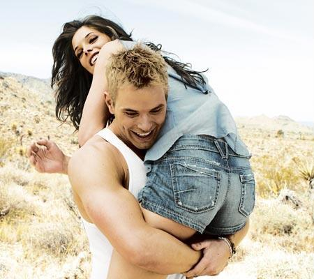 boy, couple, desert, fun, girl, hold, hugs, jeans, love, people, smile