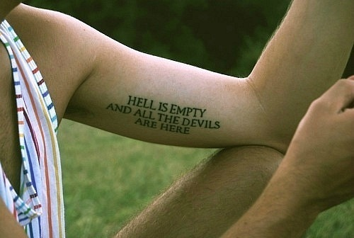 boy, devils, empty, hand, hell, here, tattoo