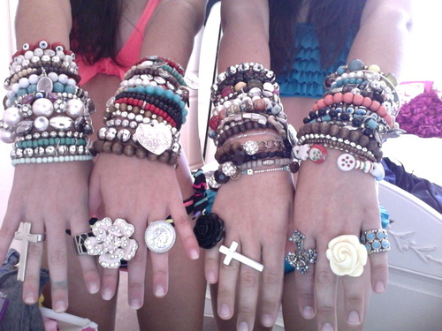 bracelet, friends, hands, two girls