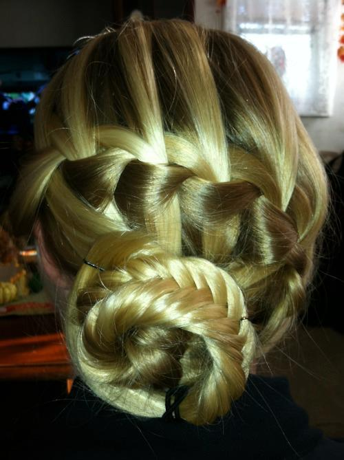 braid, brunette, bun, colorful, fashion, hair, hairstyle, plait, style