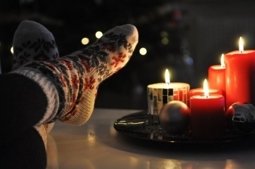bright, candles, christmas, festive, socks