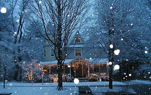 bright, christmas, decorations, house, lights, pretty, snow, winter