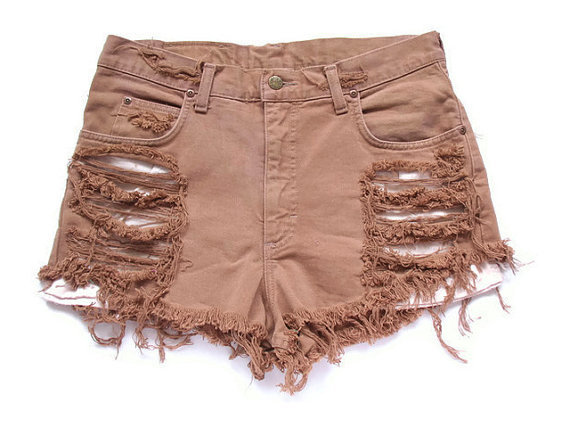 brown, brown shorts, cut offs, destroyed, destroyed cut offs, destroyed shorts, fashion, high waist, high waist shorts, high waisted shorts, lee, shorts, shredded, shredded shorts, style, summer, vintage shorts