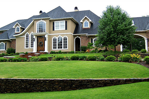 brown, design, exterior, flowers, grass, home, house, plants, pretty, trees