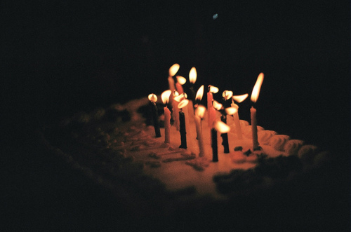 cake, candles, dark, film, film grain, indie, vintage, warm