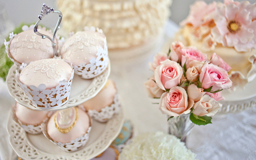 cake, cupcake, cute, flowers, hight tea, pink