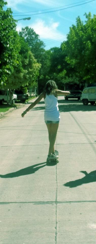 cars, friends, girl, green, lightblue, shadows, skate, skating, sky, street, trees