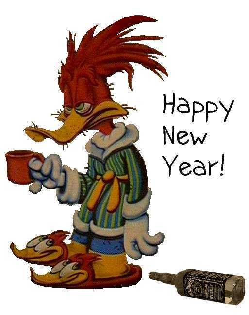 cartoon, drunk, happy new year, woody woodpecker
