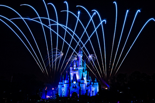 castle, disney, firework, lights, night