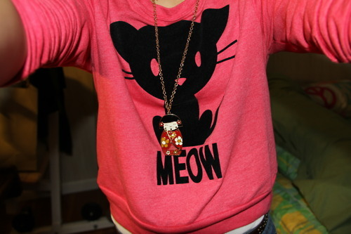 cat, cute, girl, meow, pink