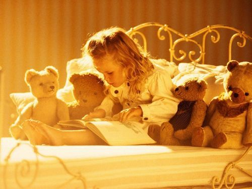 child, reading, teddy bear