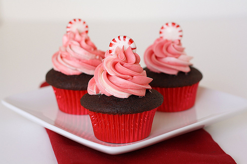 chocolate, cupcakes, cute, mini, mint, pink, red