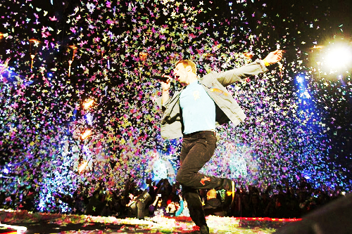 chris martin, coldplay, concert, music, mylo xyloto, paradise, photography