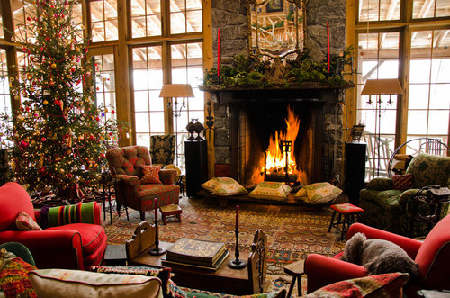 christmas, christmas tree, decor, fireplace, living room
