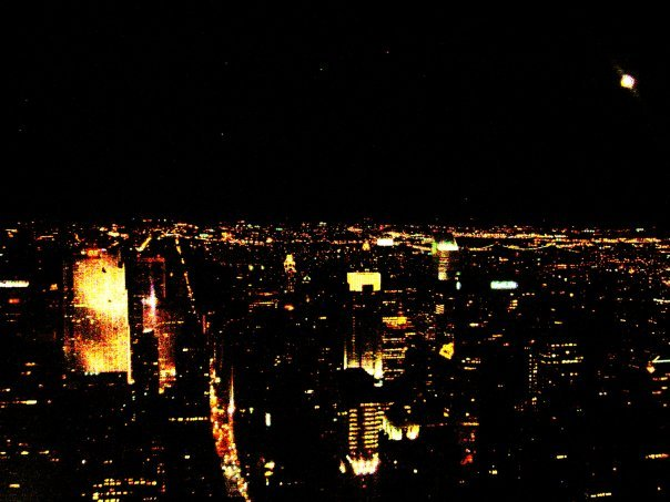 city, empire state building, landscape, lights, new york