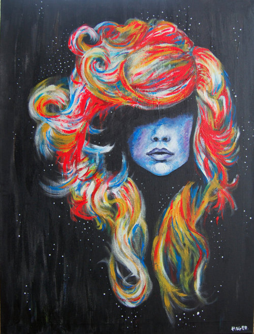 colors, drawing, girl, hair, ilustration