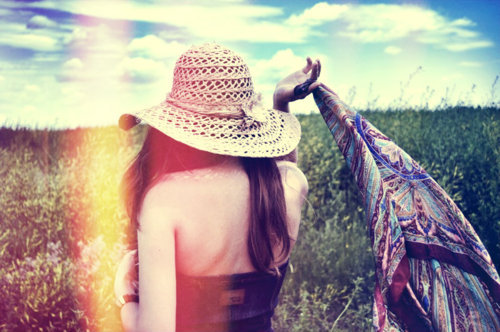 cool, field, girl, hair, hat