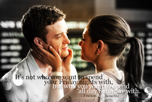 couple, cute, eyes, film, friends with benefits, honest, justin timberlake, love, message, mila, moment, movie, romance, smile, text, words