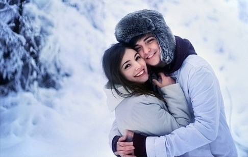 couple, hug, snow, white, winter