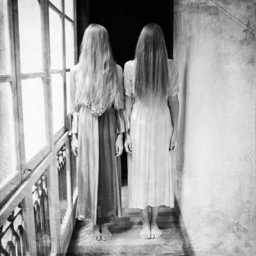 creepy, dress, girls, grey, horror, long hair, weird