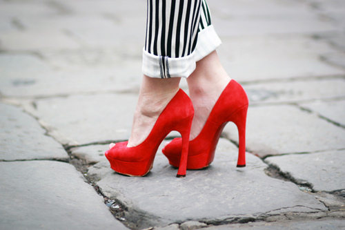 cuffed, fashion, heels, high heels, model, pants, pumps, red heels, red pumps, shoes, striped, striped pants, style