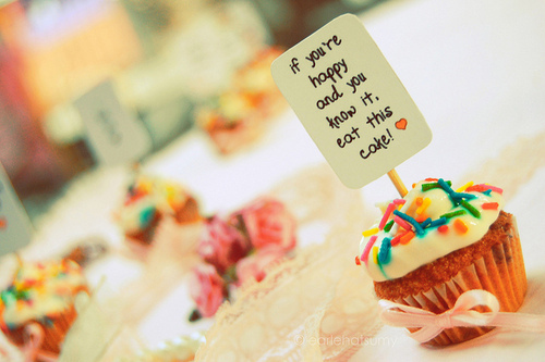 cupcakes, cute, heart, mini, ribbon, sign, sprinkles