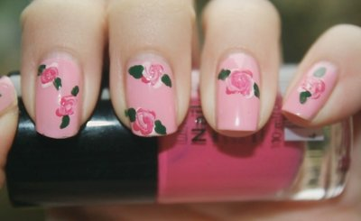 cute, flowers, girl, nail, pink