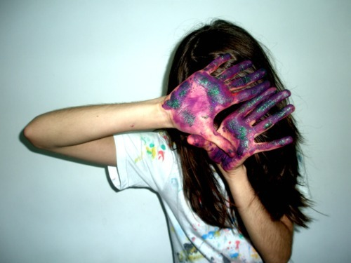 danna sheiia, girl, glitter, gorgeus, green, hair, hand prints, hands, paint, photography, purple, sparkle, white