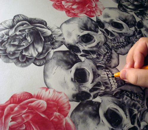 death, draw, photo, roses, skulls