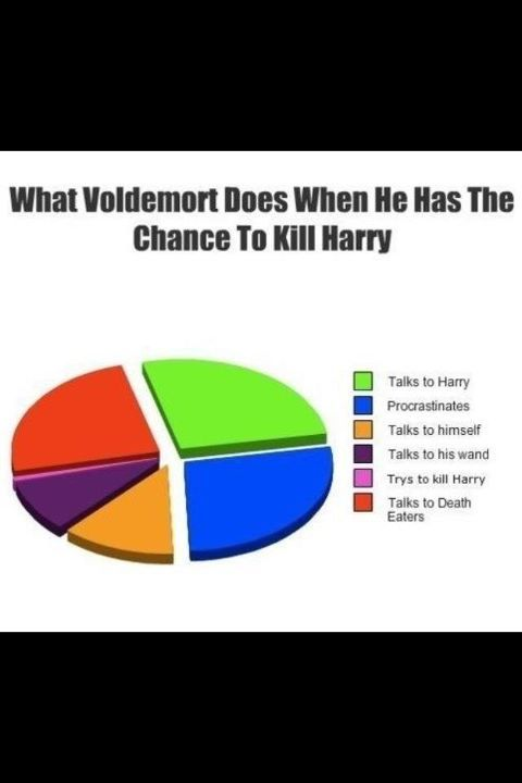 death eaters, harry, kill, pie chart, voldemort, voldemorts stupid! x