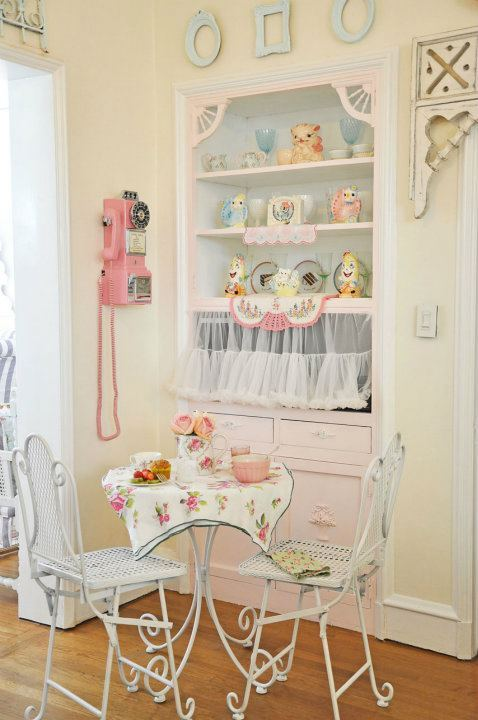decoration, dessert, girls, home sweet home, inspiration, kitchen, love, pink, romantic, shabby chic, sweet, tea time