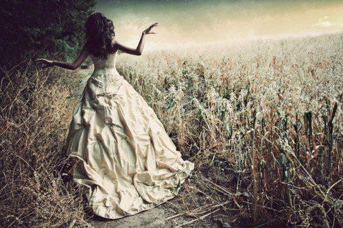 dress, girl, gown, hair, lonely