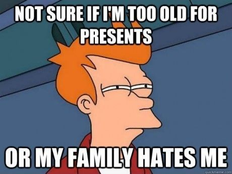family, funny, not sure if, parents, presents