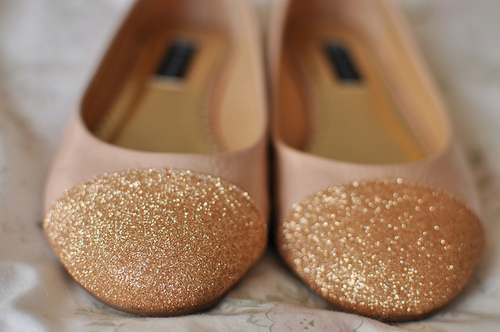 fashion, flats, glitter, gold, shimmer