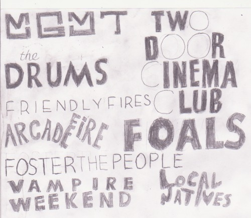 foals, foster the people, friendly fires, local natives, the drums, two door cinema club, vampire weekend