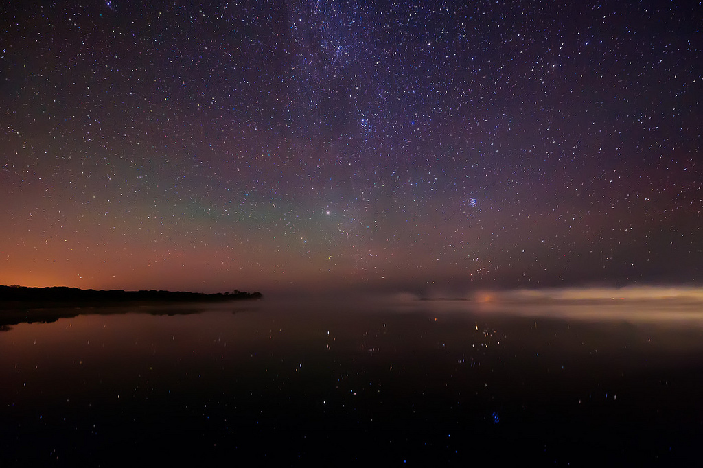 fog, lake, nature, night, reflection