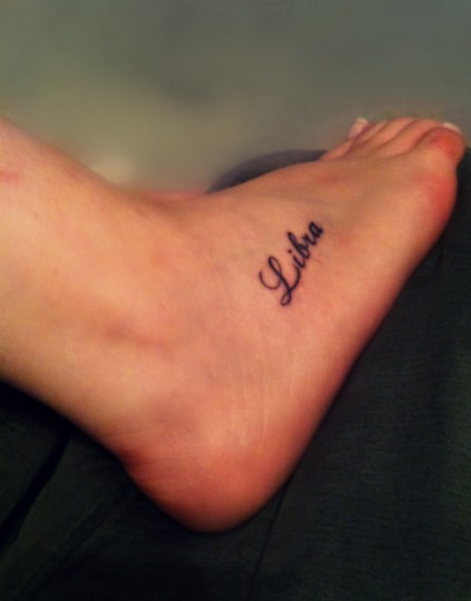 foot tattoo, libra, tattoo