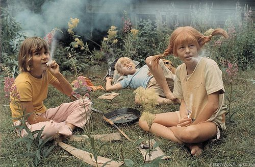 funny, kids, pippi longstocking, smoke, weed