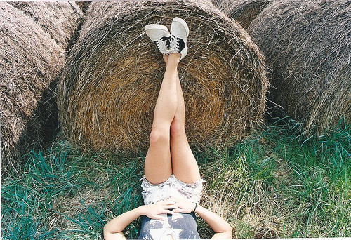 girl, grass, legs, shoes, vintage