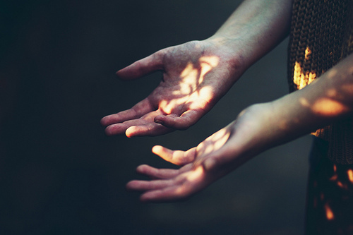 hands, light, patterns, reflect