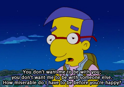 happy, love, love quote, milhouse, miserable, saying, simpsons
