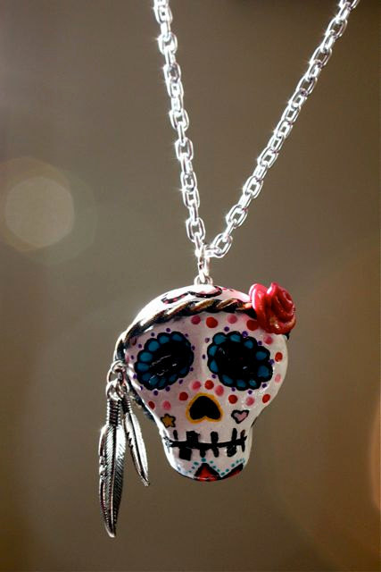 hippie sugar skull, skull necklace, sugar skull, sugar skull necklace